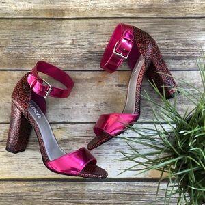 Sexy Tildon Metallic Ankle Strap Chink Heel Sandal